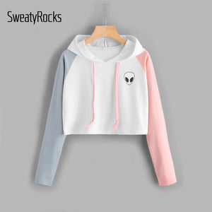 SweatyRocks Alien Print Contrast Sleeve Graphic Hoodie