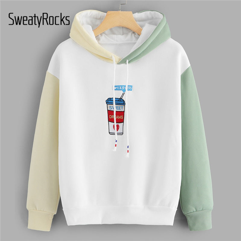 SweatyRocks Colorblock Graphic Embroidered Contrast Sweatshirt