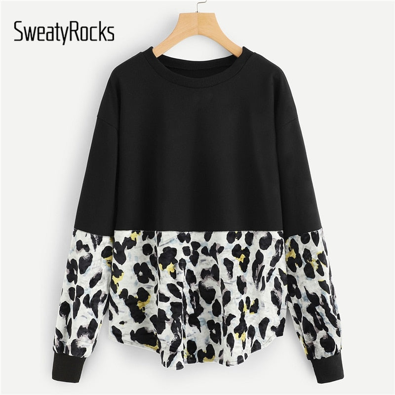 SweatyRocks Contrast Panel Leopard Print Sweatshirt