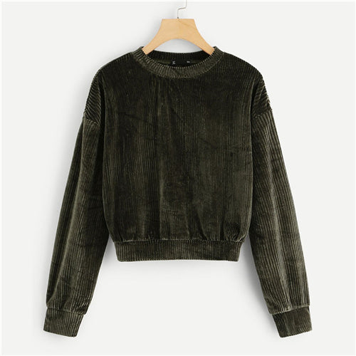 SweatyRocks Army Green Ribbed Velvet Sweatshirt