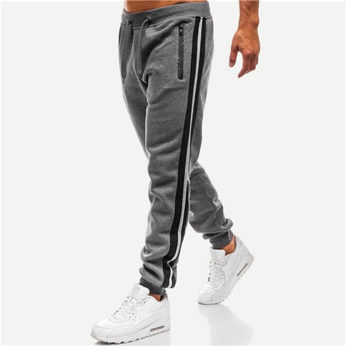 SweatyRocks Designed Striped-Side Grey Sweatpants