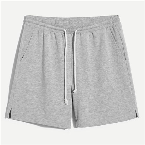 Men Slit Edge Marled Drawstring Shorts