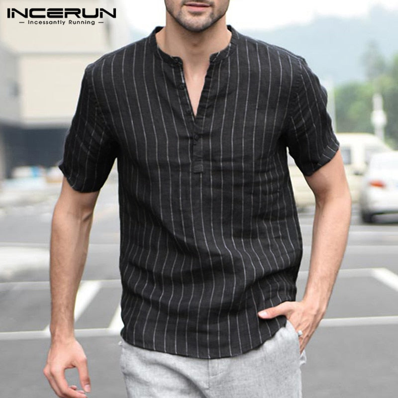 INCERUN Striped Short Sleeve Dress Shirt