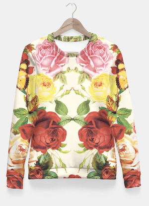 Vintage flowers illustration Fitted Waist Sweater