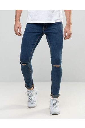 Men's Blue Knee Ripped Jeans