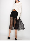 Lace Sheer Midi Skirt with Belt