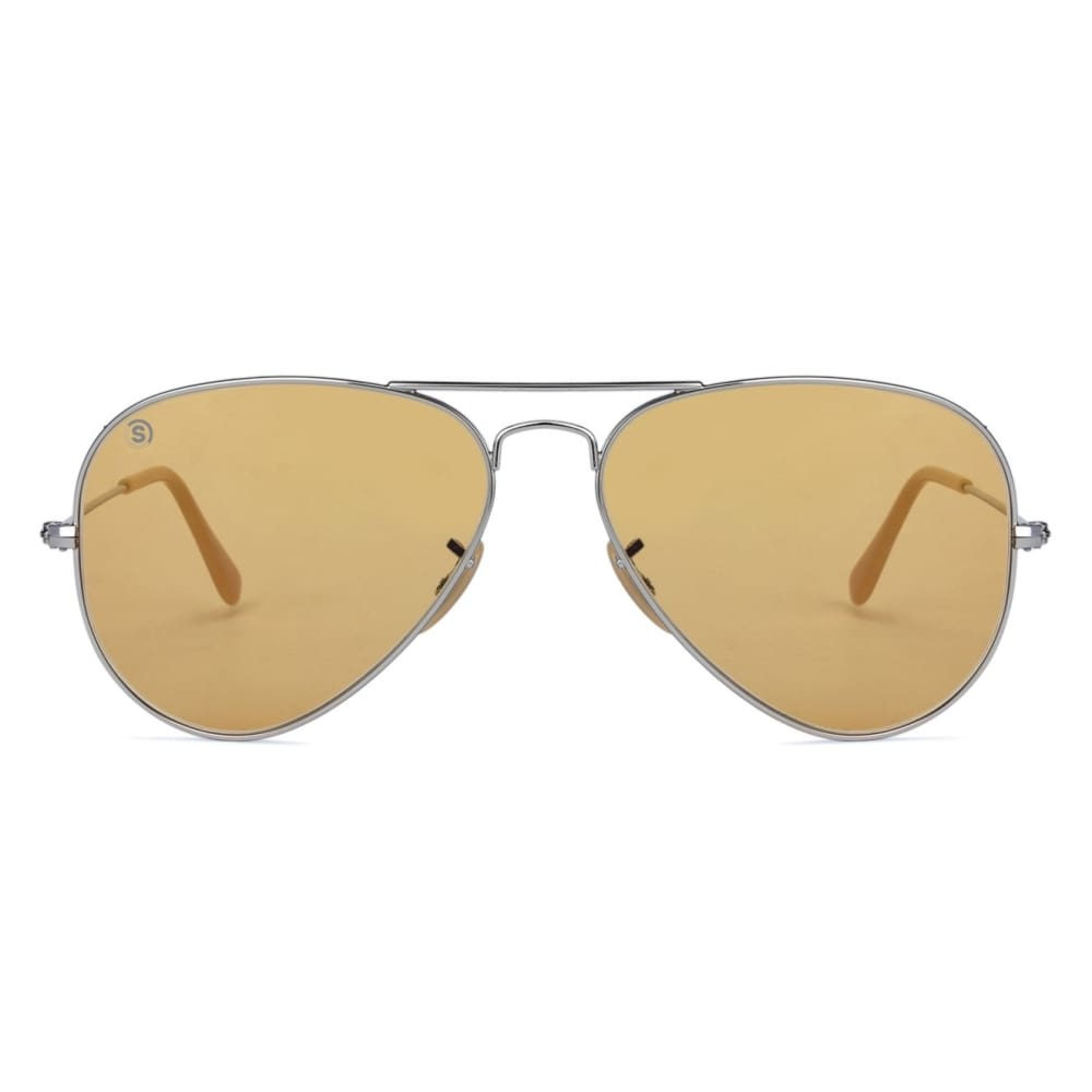So Power Aviator Light Brown Sunglasses (Unisex) Sunglasses