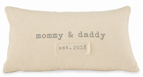 Parents Est. 2018 Pillow