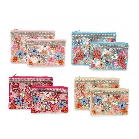 Beaded Flower Pouches