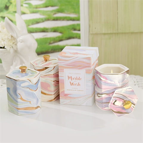 MARBLE PATTERN FILLED CANDLE ASST 3 COLORS/SCENTS