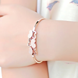 18KGP Rose Titanium Steel Frosted Butterfly Bangle
