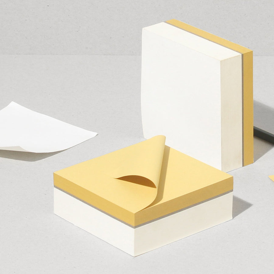 Block | Square : NATURAL WHITE - PASTEL YELLOW