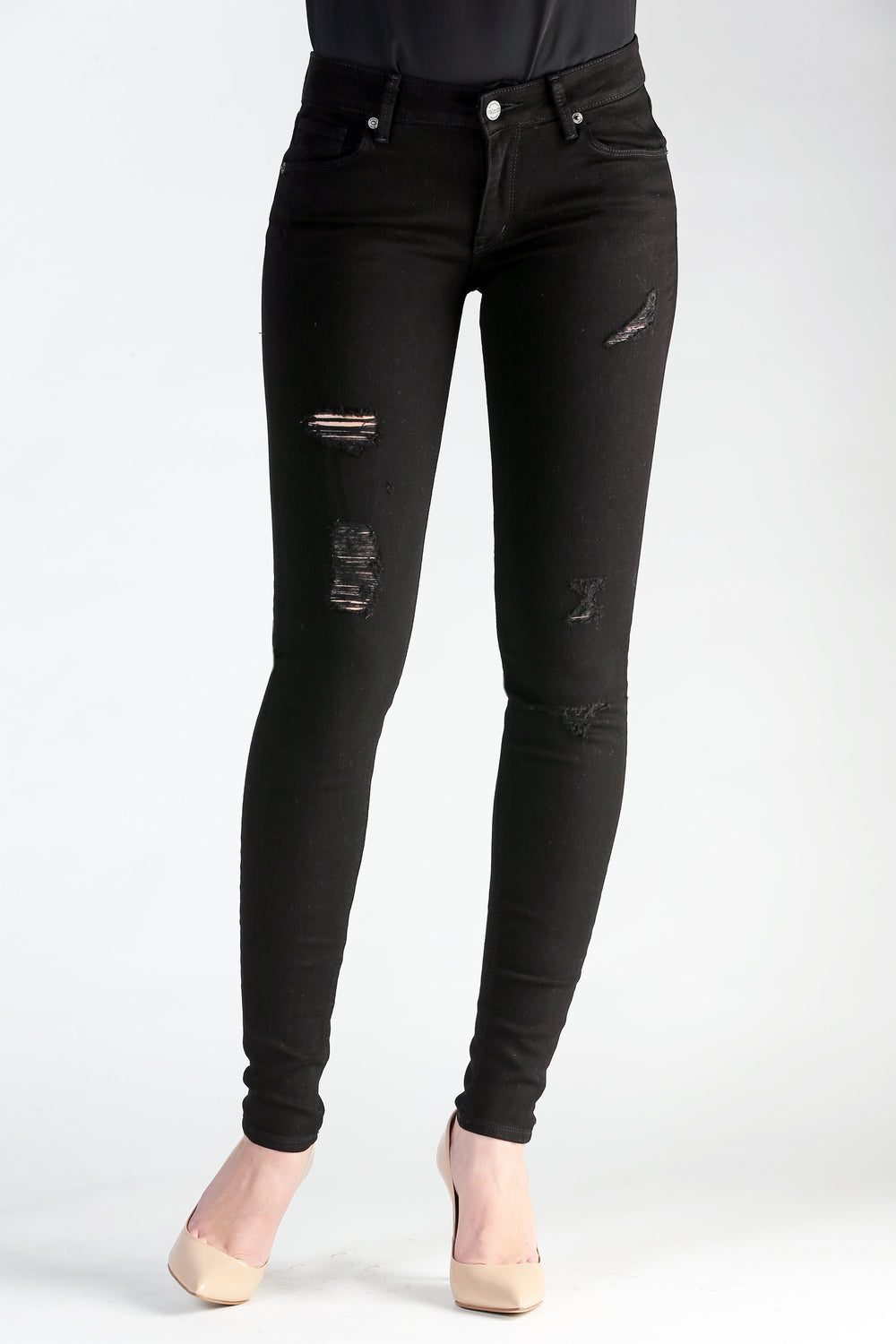 Skinny in Black Distressed