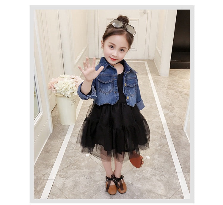 ae7fd9cbb Spring and fall jeans jacket with black tutu skirt outfit set – Baby ...