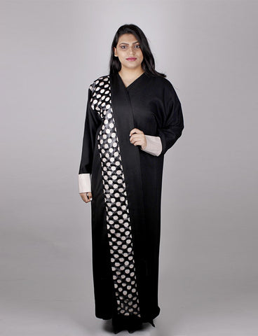 Beige and Black Abaya