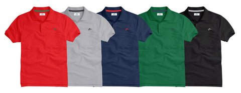 Slim Fit Pique Polo Shirt - Pack of Five - Size LARGE