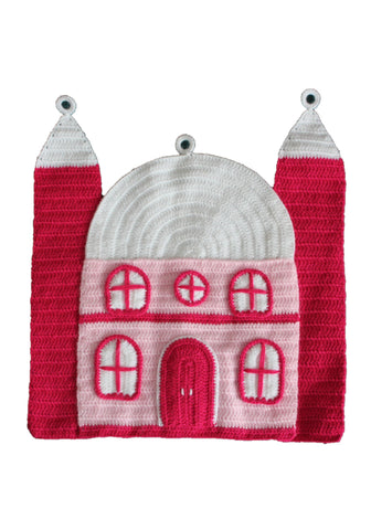 Crochet Pink Mosque Wall Hanging by OAK Charity