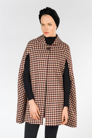 Checkered Wool Cape