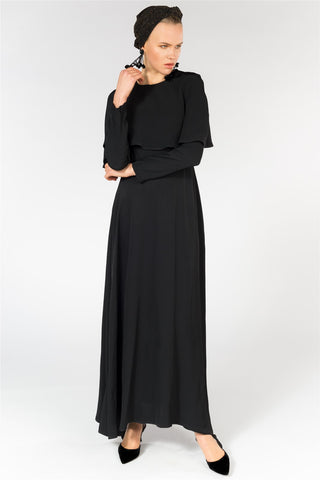 Belted Maxi Dress With Cape Detail