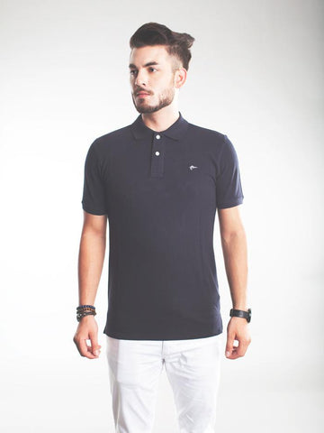 Slim Fit Pique Polo Shirt - Black