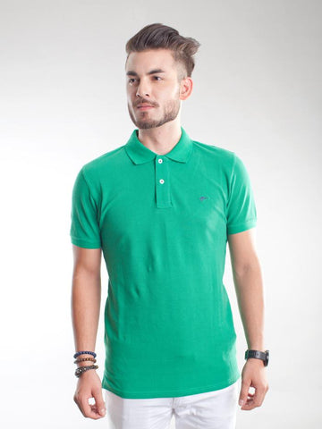 Slim Fit Pique Polo Shirt - Amazon Green