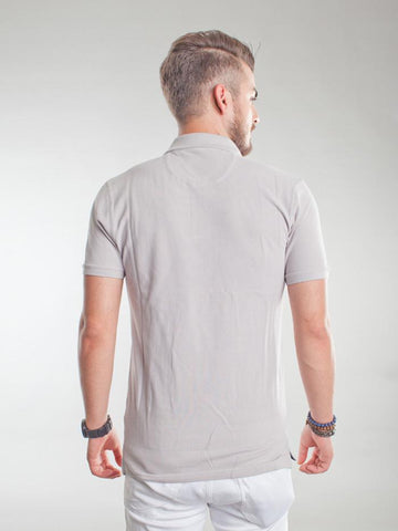 Slim Fit Pique Polo Shirt - Warm Sand Grey