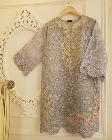 Agha Noor Grey Embellished & Embroidered Kurta - 2 Piece