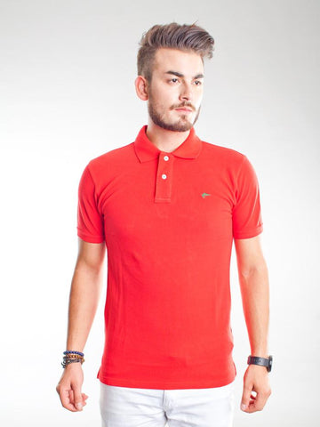 Slim Fit Pique Polo Shirt - Fiesta Red
