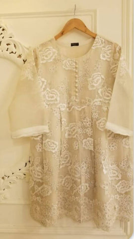 Agha Noor Off White Embroidered & Embellished Kurta - 3 Piece