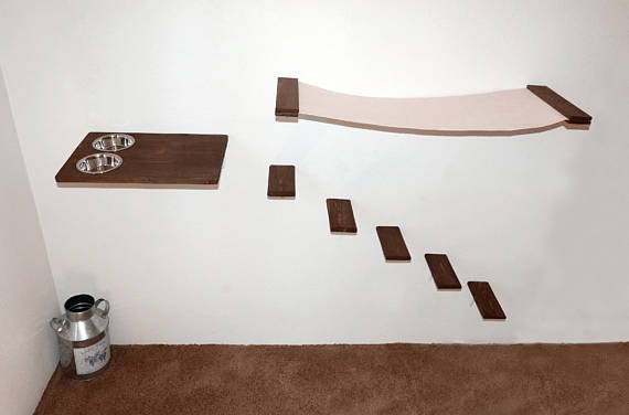 Cat Furniture Set, Hammock Feeder And 5 Steps, Cat Shelves, Wall Mounted Cat  ...