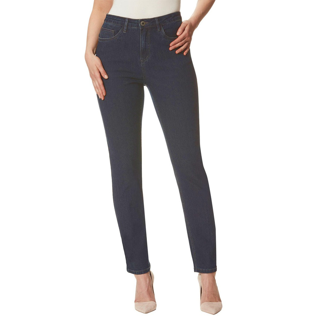 stokar high rise stretchable dark blue tapered fit jeans