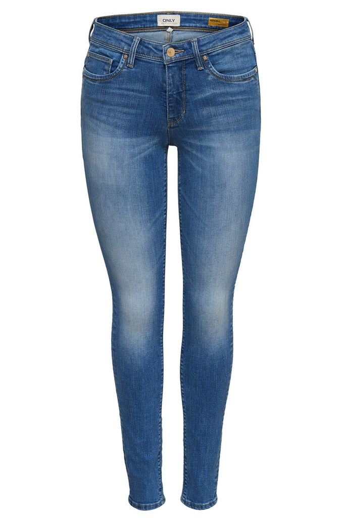 brand only slim fit stretchable medium blue ladies jeans (3679147884592)