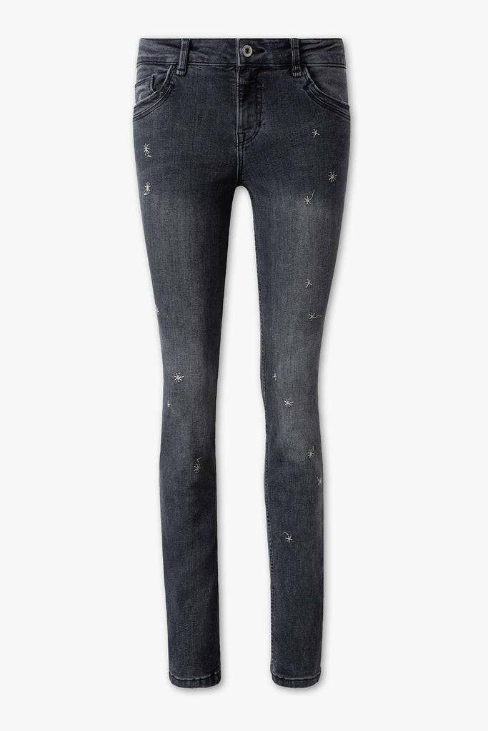 brand c-a embroidered stars straight fit stretchable grey ladies jeans (3795804979248)