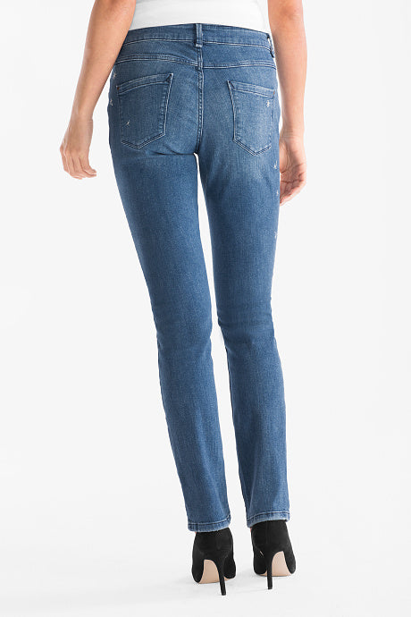 brand c-a embroidered stars straight fit stretchable blue ladies jeans (3795800752176)