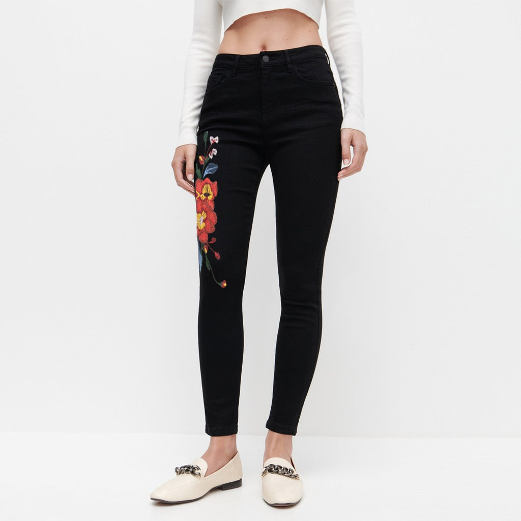 resvrd jet black floral stretchable ladies jeans