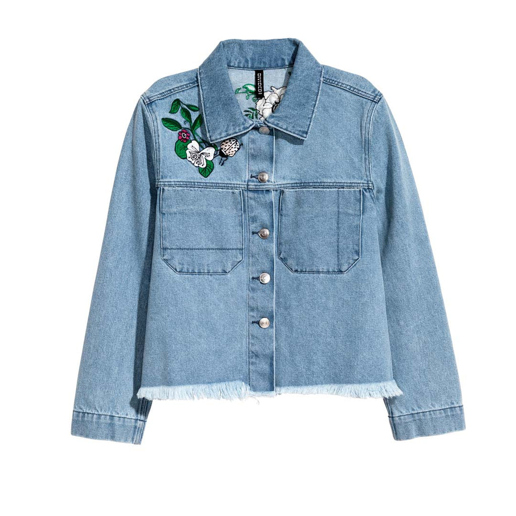hm women crop bottom embroidered denim jacket