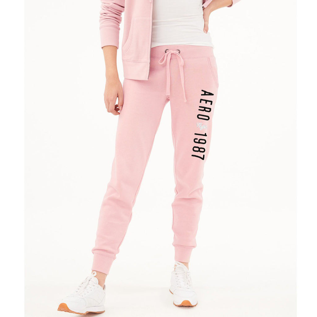 eropstl women pink embroidered sweat jogger pant
