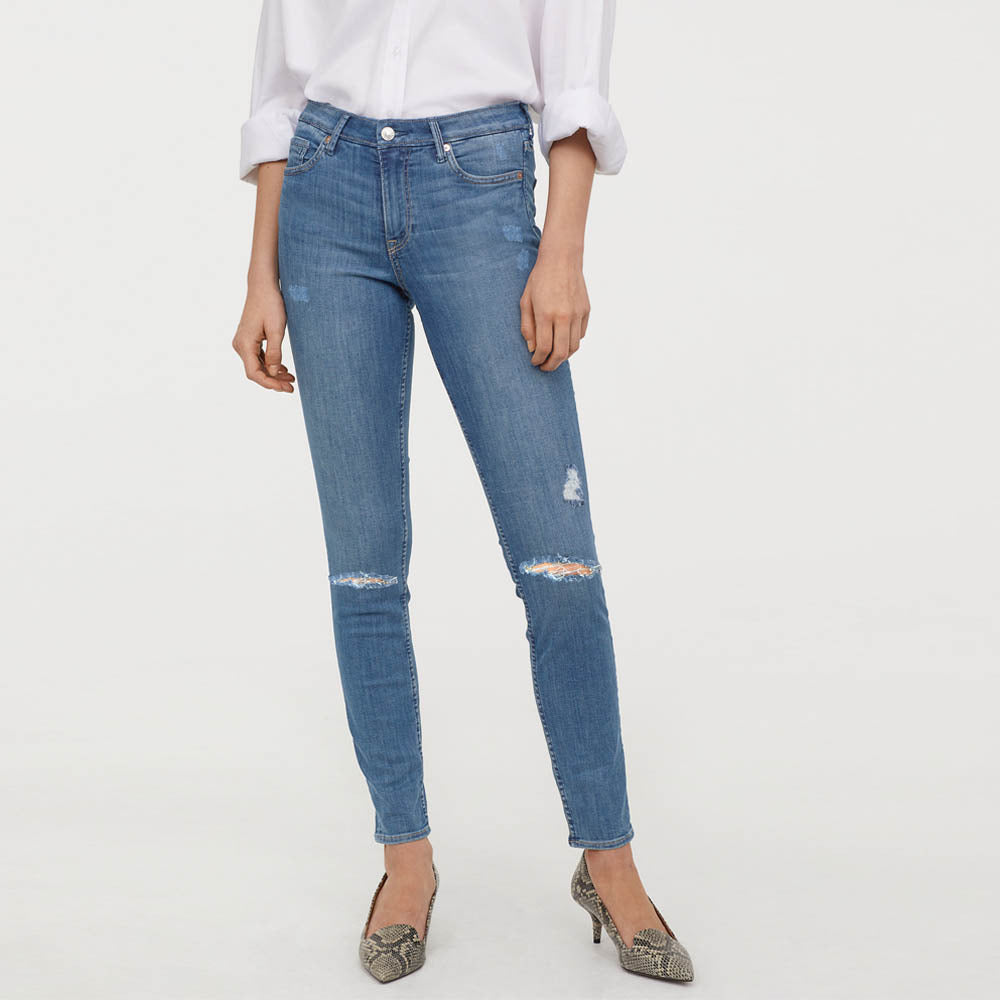 brand hm ladies regular skinny stretchable ripped jeans (2202830176304)