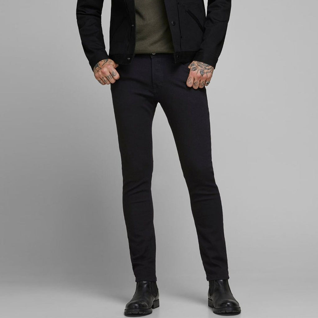 Jack & Jhn jet black slim fit stretchable jeans for men