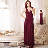 wozuly baby doll maroon long style lace Lingerie (4455006273584)