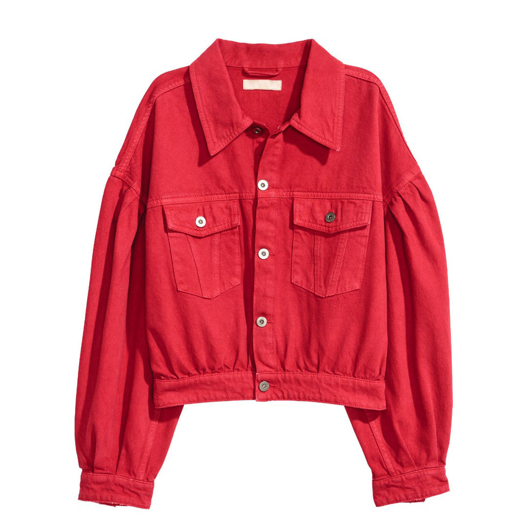 hm women over size loose style short body red denim jacket