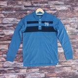 old nvy mens light blue and navy blue penal full sleeve polo shirts