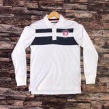 old nvy mens white and black penal full sleeve polo shirts