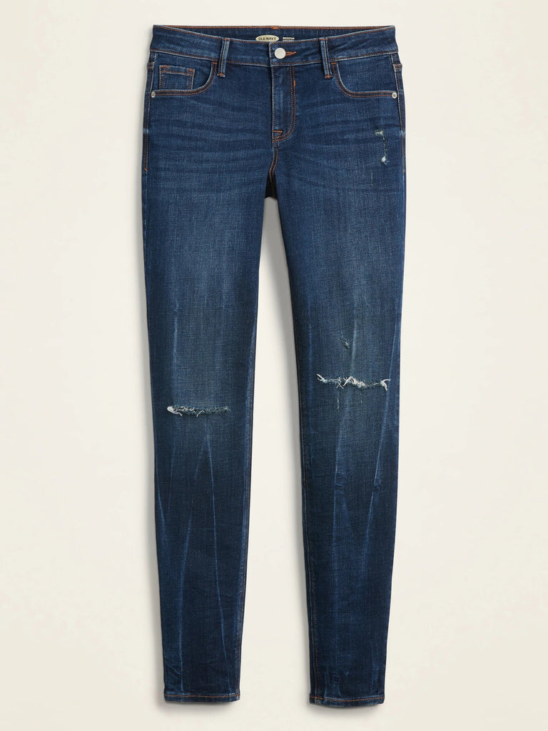 O-navy slim fit mid rise knees ripped women jeans (3742671470640)