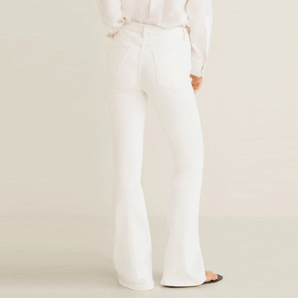 Brand o-nvy mirco flare White stretchable ladies jeans