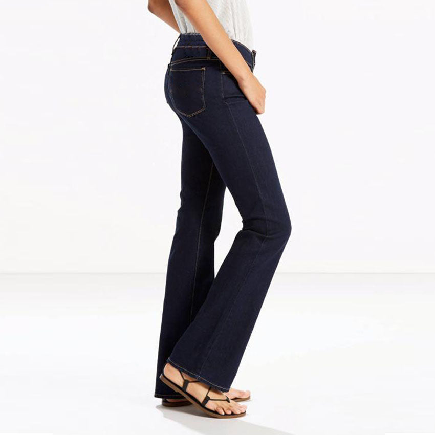 brand c-a solid navy blue solid ladies bootcut jeans