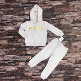 BCBG baby girl skin colour hood & sweat fleece pair