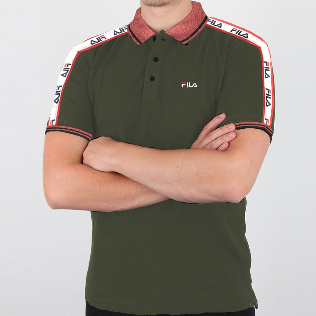 F!la dull green mens polo shirt
