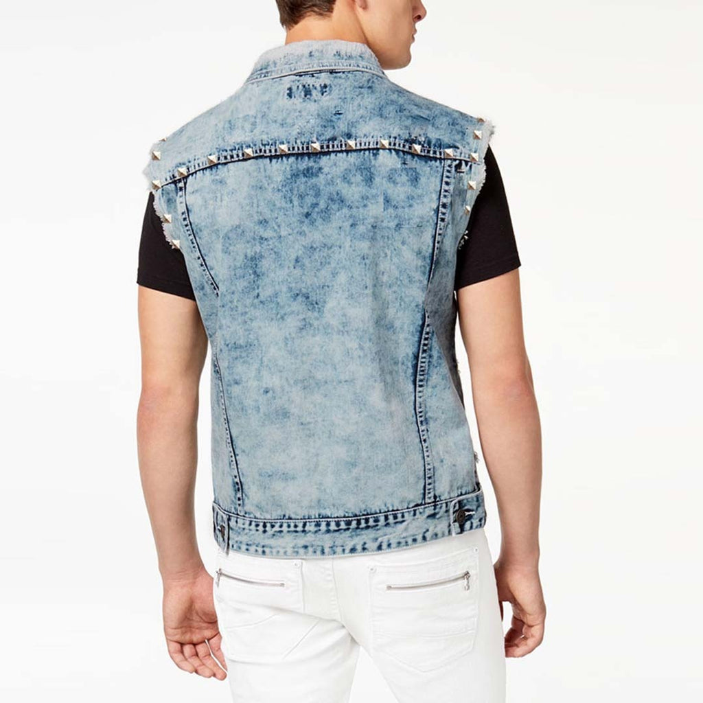Suitblnco stone wash crop style sleeve less mens denim jacket