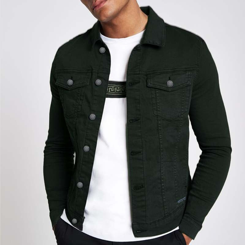 cheep mondy men's slim fit greenish black ripped denim jacket